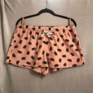 Fuzzy pink plush shorts with black cats size Large